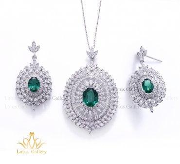 نیم ست جواهر با سنگ جیبسون