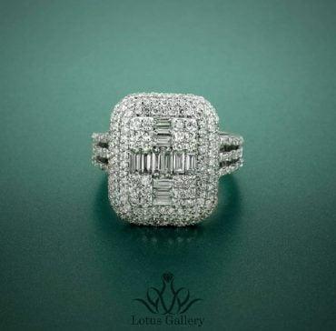 انگشتر جواهر باگت و برلیان لوکس