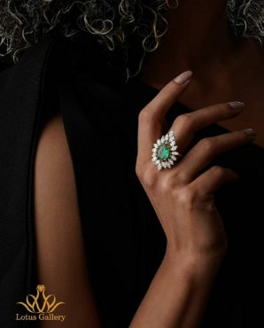 انگشتر جواهر مارکیز و زمرد
