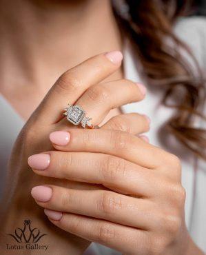 انگشتر الماس باگت و برلیان